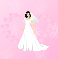 Vector illustration of beauty bride on pink background