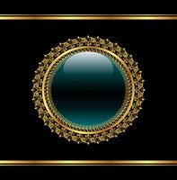 Illustration golden floral medallion for packing - vector