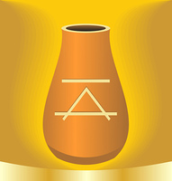 Illustration ancient jug with symbol on gold background - vector