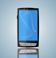 Realistic illustration of smart phone with mirror - vector