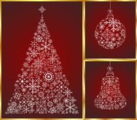 Illustration abstract christmas set pine, ball and bell - vector