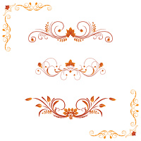 Different autumn design elements and corners. Vector