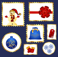 Illustration set of colorful Christmas Postage stamps - vector