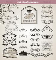 Illustration set floral ornate design elements (3) - vector