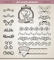Illustration set floral ornate design elements (4) - vector