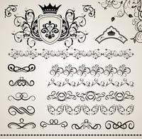 Illustration set floral ornate design elements (5) - vector