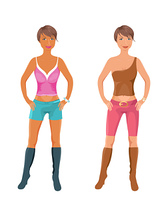 Illustration set female fashion models - vector