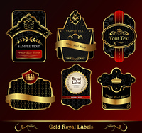 Illustration decorative dark gold frames labels - vector