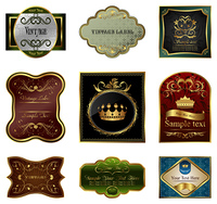Set illustration of decorative color gold frames labels - vector
