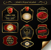 Illustration set black gold-framed labels - vector