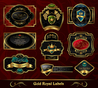 Illustration set colorful gold-framed labels - vector