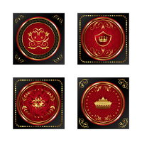 Illustration set red gold-framed labels - vector