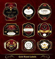 Illustration set dark gold-framed labels - vector