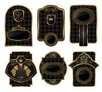 Illustration set black-gold decorative frames - vector