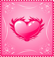 Illustration romantic stamp for Valentine's day - vector