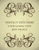 Vintage floral frame with blots. Vector