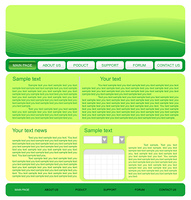 Illustration of  web site green template. Vector
