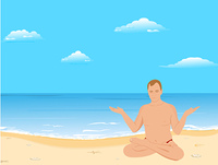 Vector illustration of yogas the man sits on a beach and meditates