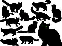 Cat's silhouettes with green eyes