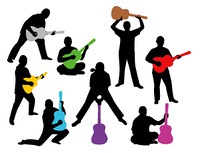 Silhouettes of men with guitars