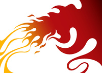 Designed stylized fire artistic banner