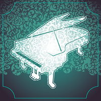 Floral background with stylized piano