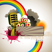 Music banner with designed retro elements
