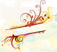 Vector illustration of Grunge styled Floral Decorative banner