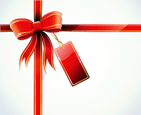 Vector illustration of gift wrapped white paper with a red ribbon, bow and blank tag