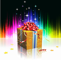 Vector illustration of cool gift box on the futuristic abstract glowing background