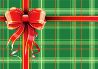 Vector illustration of green Scottish plaid gift wrapping with red ribbon and bow