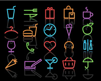 Vector illustration of color neon original style life Icon Set