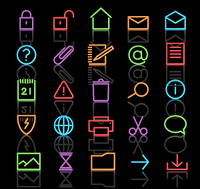 Vector set of elegant neon simple icons for common computer functions