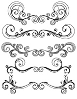 Vector set of floral decorative ornament page rules