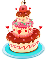 Vector illustration of a wedding tiered cake decorated with flowers and funky hearts