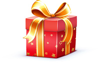 Vector illustration of funky Christmas gift box isolated on white background