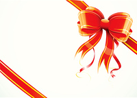 Vector illustration of shiny red gift bow and ribbon wrapped around a rectangle like a present