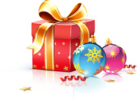 Vector illustration of funky gift box and cool Christmas decorations