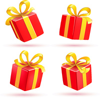 Vector illustration set of shiny red gift boxes