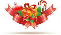 Vector illustration of Christmas decoration with red bow,  ribbons, gift box, holly leaves and berries