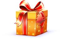Vector illustration of Christmas shiny red gift box