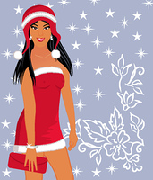 Illustration christmas background with sexy lady - vector