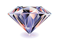 Artistic brightly coloured cut diamond with shadow and reflection