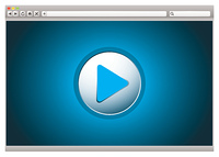 Web internet computer browser with video play button