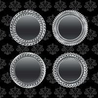 Illustration set aluminum medallion, design elements - vector