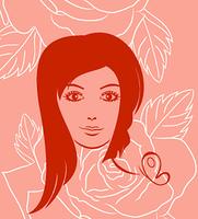 Illustration girl face portrait on rose background - vector