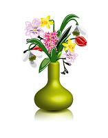 vector spring flowers in vase