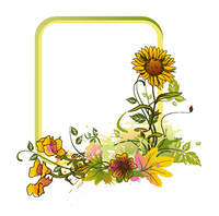 colorful floral frame vector illustration