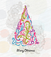 vector doodles christmas greeting card