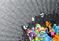 vector colorful abstract background with butterflies